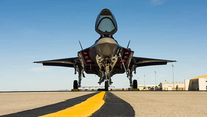 An F-35A rests on the flightline after arriving at Mountain Home Air Force Base, Idaho, June 3, 2016. While there, the F-35A will be testing three key mission sets: suppression and destruction of enemy air defense, air interdiction missions and basic close air support. (U.S. Air Force photo by Airman Alaysia Berry/Released)